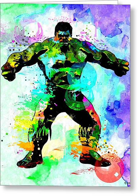Hulk Watercolor Greeting Card by Daniel Janda