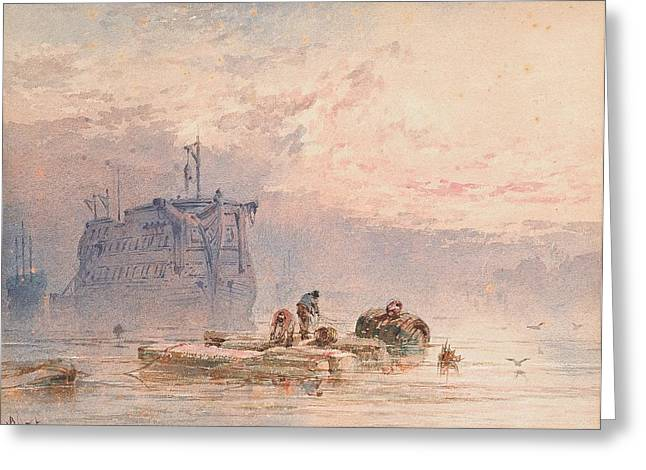 Hulks At Anchor Greeting Card by William Cook of Plymouth