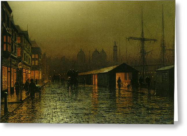Greeting Card featuring the painting Hull Docks By Night   by Arthur Grimshaw
