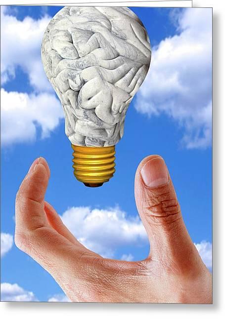 Human Brain In Shape Of Lightbulb Greeting Card