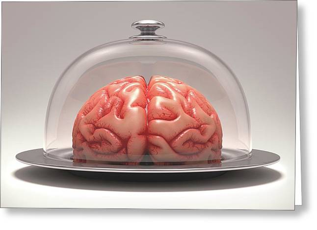 Human Brain On Platter Greeting Card