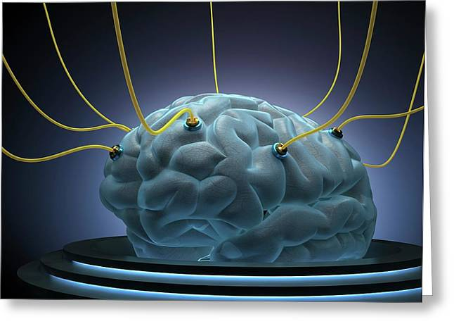 Human Brain With Sensors Greeting Card