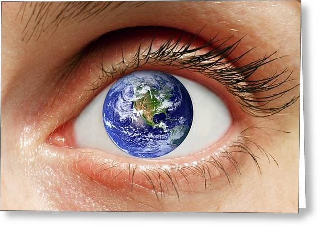 Human Eye With Planet Earth Greeting Card by Victor De Schwanberg
