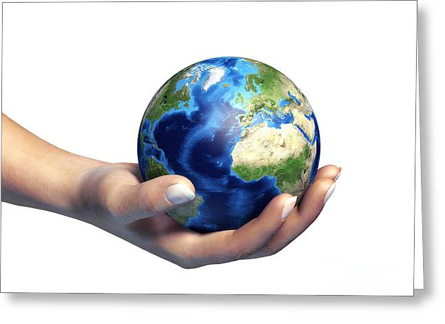 Human Hand Holding Planet Earth Greeting Card by Leonello Calvetti