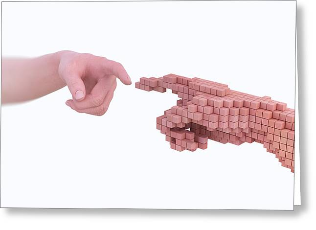 Human Hand Made From Voxels Greeting Card by Andrzej Wojcicki