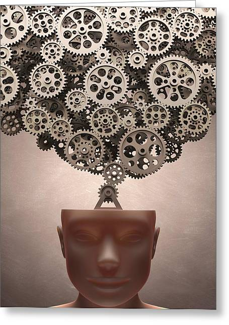 Human Head With Cogs Greeting Card