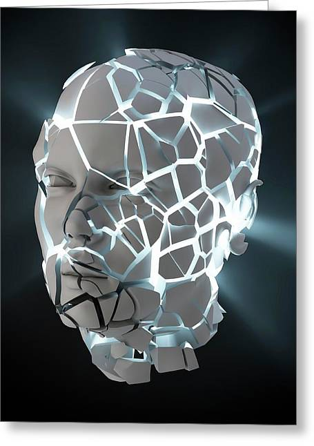 Human Head With Cracks Greeting Card by Andrzej Wojcicki