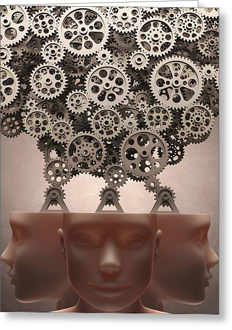 Human Heads With Cogs Greeting Card