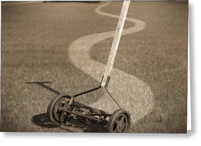 Human Power Lawn Mower Greeting Card
