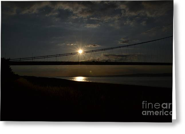 Humber Bridge Sunset Greeting Card