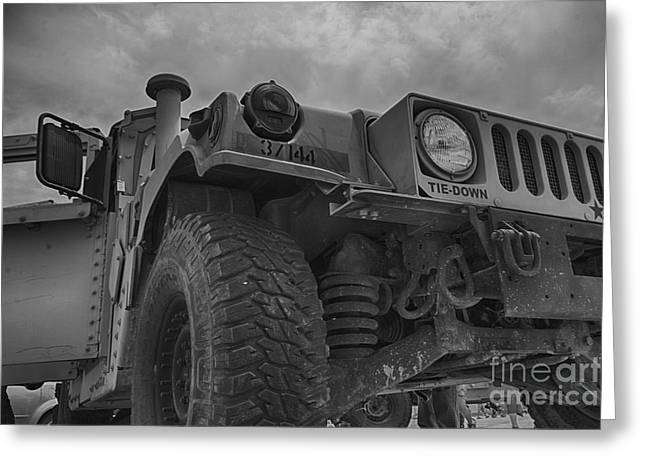 Hummer Humvee-black And White Greeting Card by Douglas Barnard