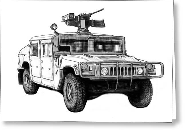 Hummer Us Army Car Drawing Art Poster Greeting Card