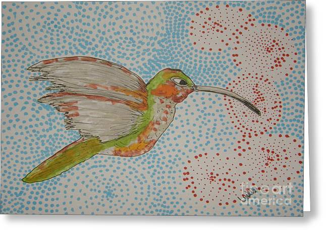 Humming Around Greeting Card by Marcia Weller-Wenbert
