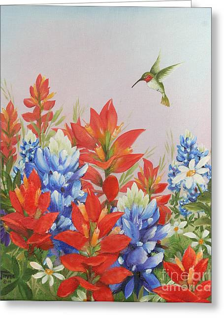 Humming Bird In Wildflowers Greeting Card by Jimmie Bartlett
