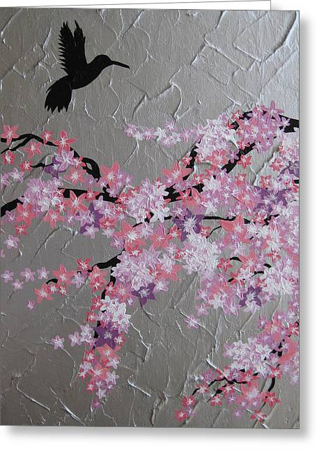 Humming Bird With Cherry Blossom Greeting Card by Cathy Jacobs