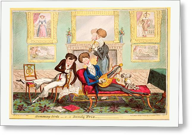 Humming Birds Or A Dandy Trio, Cruikshank, George Greeting Card by Litz Collection