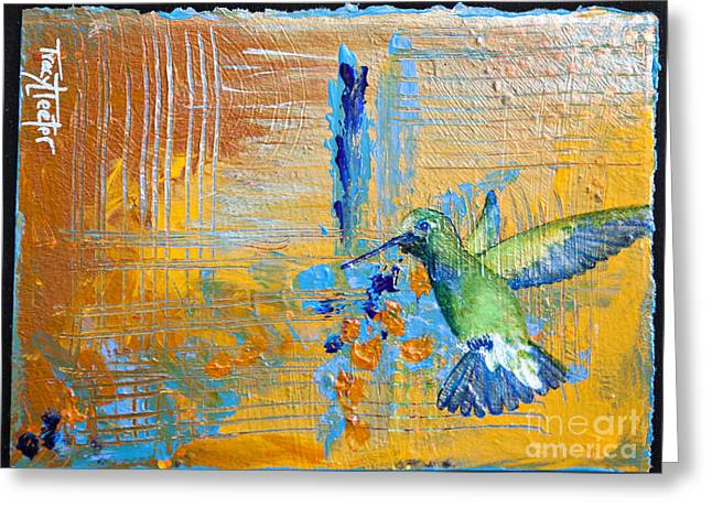 Hummingbird Abstract Greeting Card by Tracy L Teeter