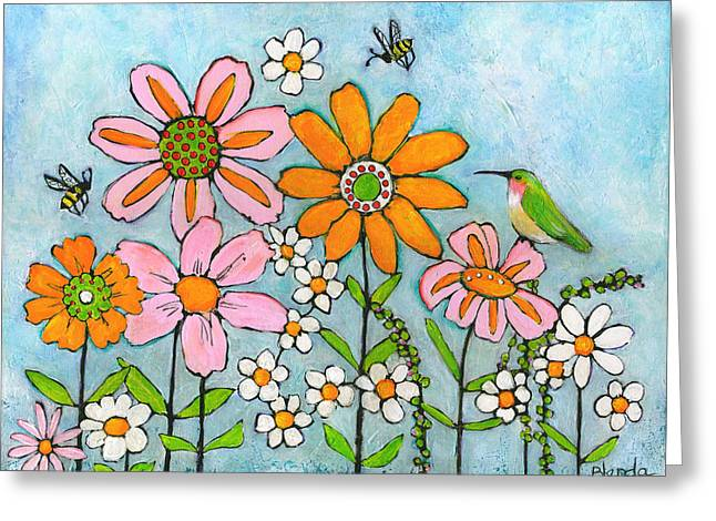 Hummingbird And Bees Greeting Card by Blenda Studio