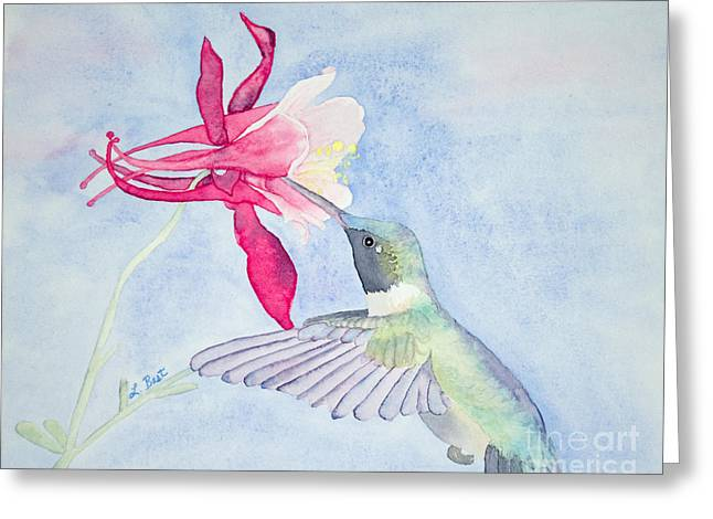 Hummingbird And Columbine Greeting Card
