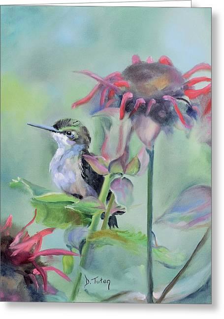 Hummingbird And Coneflowers Greeting Card