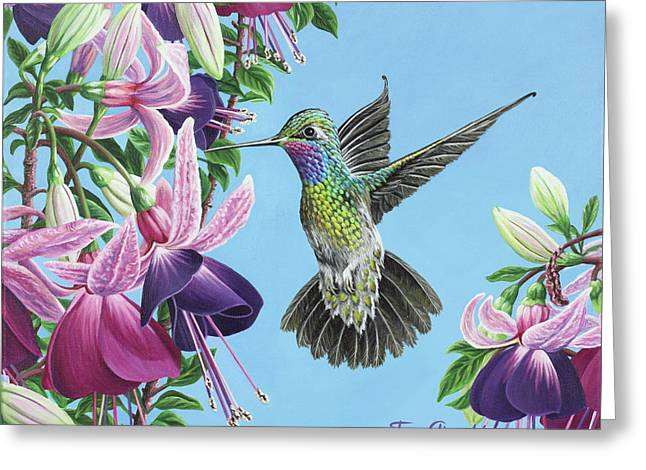 Greeting Card featuring the painting Hummingbird And Fuchsias by Jane Girardot
