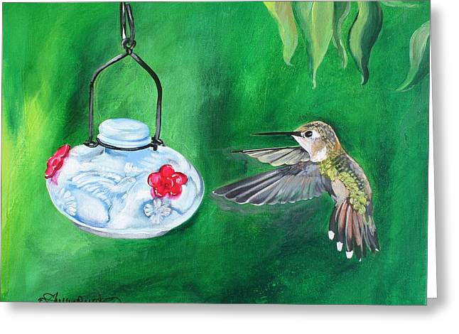 Hummingbird And The Feeder Greeting Card