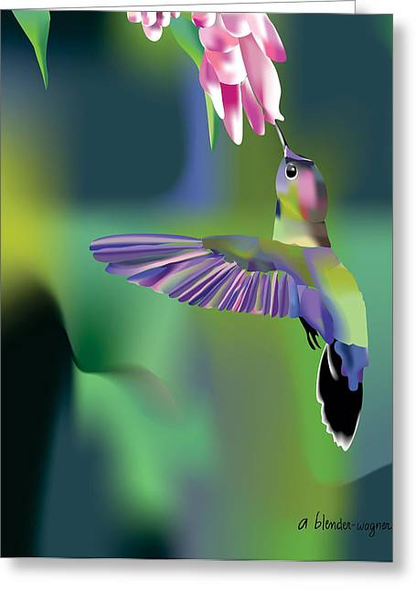 Greeting Card featuring the digital art Hummingbird by Arline Wagner