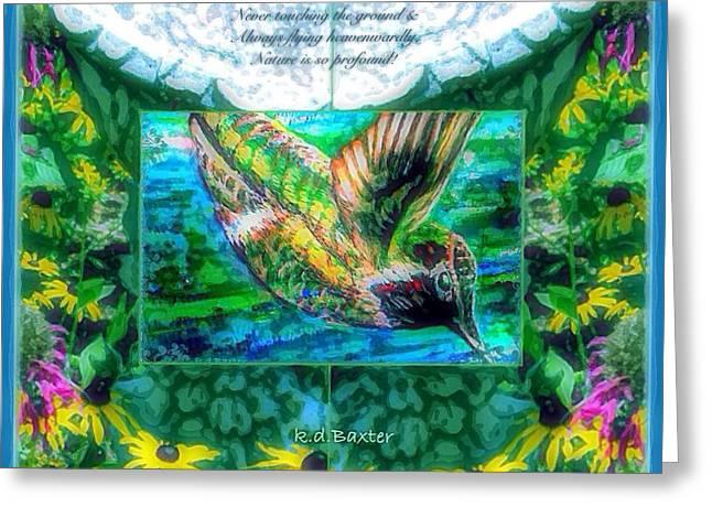 Hummingbird Birdbath With Poem Greeting Card