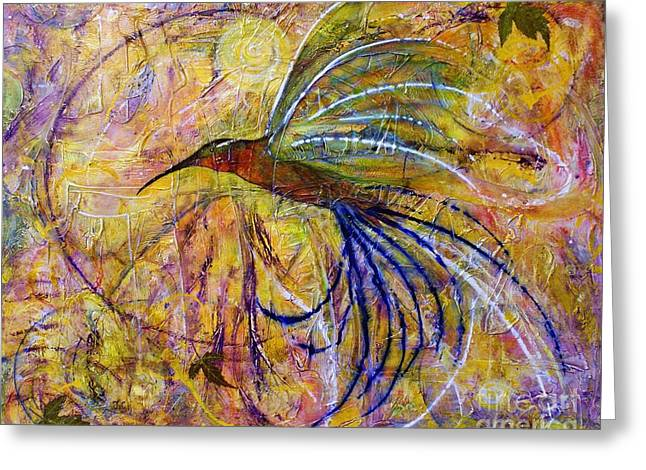Greeting Card featuring the painting Hummingbird Don't Fly Away by Jane Chesnut