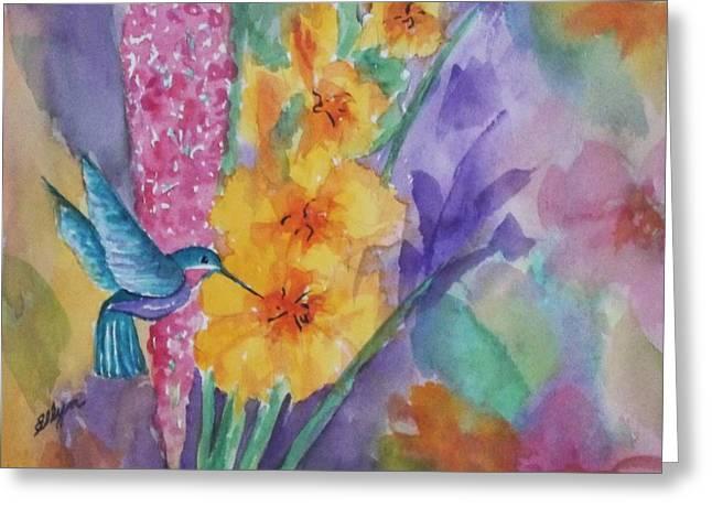 Hummingbird Heaven - Square Greeting Card by Ellen Levinson