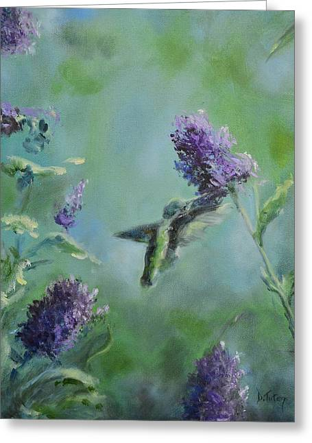 Hummingbird In Flight Greeting Card by Donna Tuten