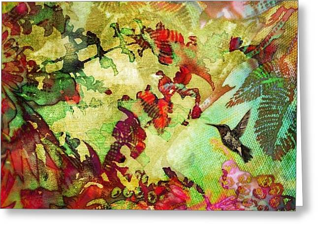 Hummingbird In Flower Heaven - Square Greeting Card