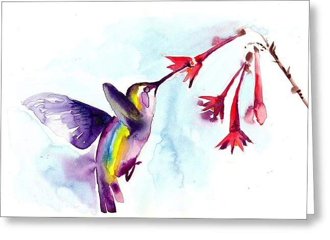 Hummingbird In Red Flowers Watercolor Greeting Card by Tiberiu Soos