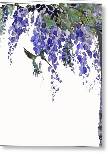 Hummingbird In Wisteria  Greeting Card