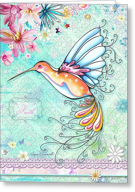 Hummingbird Inspirational Floral Painting Art Quote Faith By Megan Duncanson Greeting Card