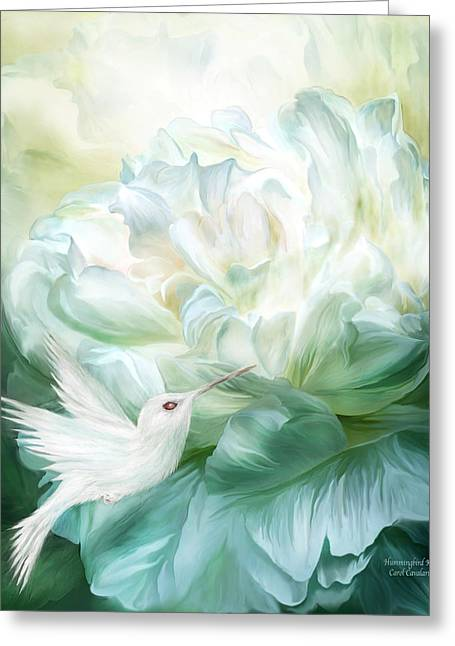 Greeting Card featuring the mixed media Hummingbird Kiss by Carol Cavalaris