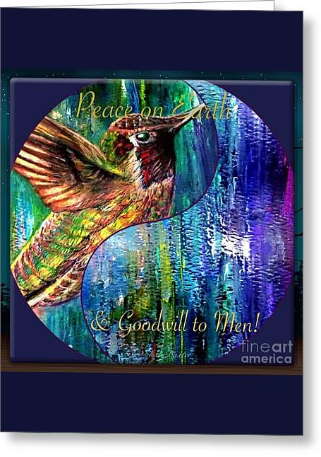 Hummingbird Mascot For Peace And Goodwill To Men Greeting Card