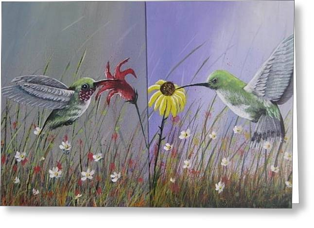 Hummingbird Pair Greeting Card