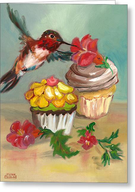 Greeting Card featuring the painting hummingbird with 2 Cupcakes by Susan Thomas