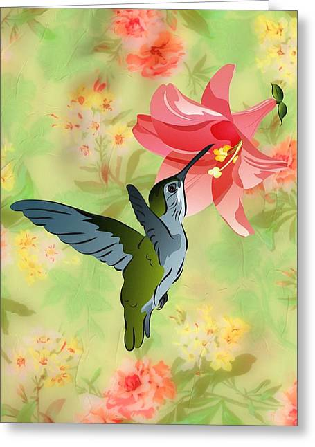 Hummingbird With Pink Lily Against Floral Fabric Greeting Card