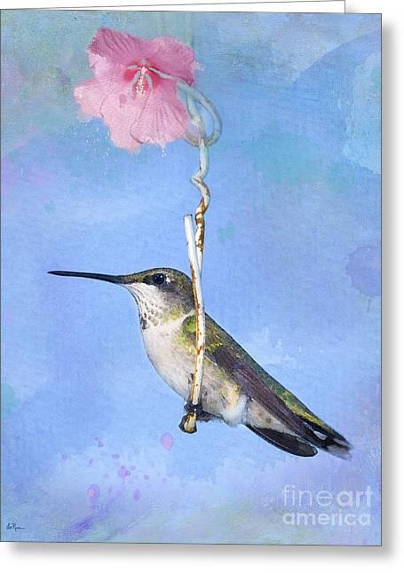 Hummingbirds Like To Swing Greeting Card by Betty LaRue