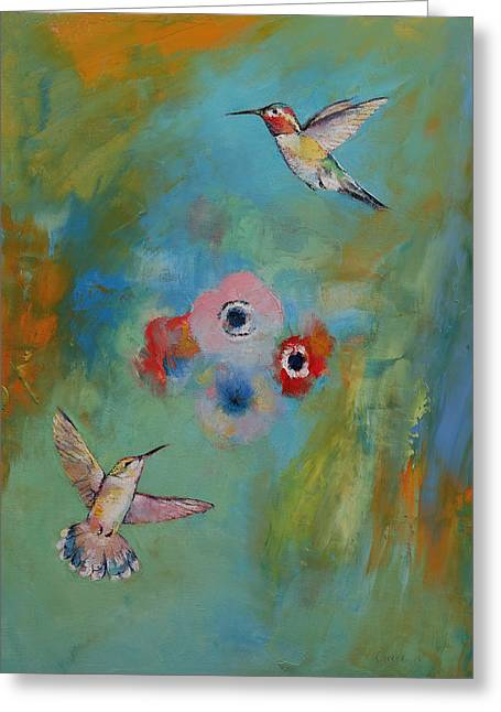 Hummingbirds Greeting Card by Michael Creese