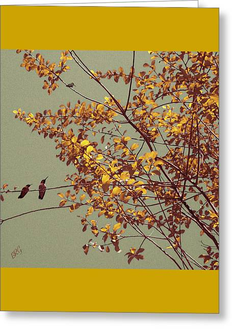 Hummingbirds On Yellow Tree Greeting Card