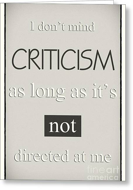 Humorous Poster - Criticism - Neutral Greeting Card