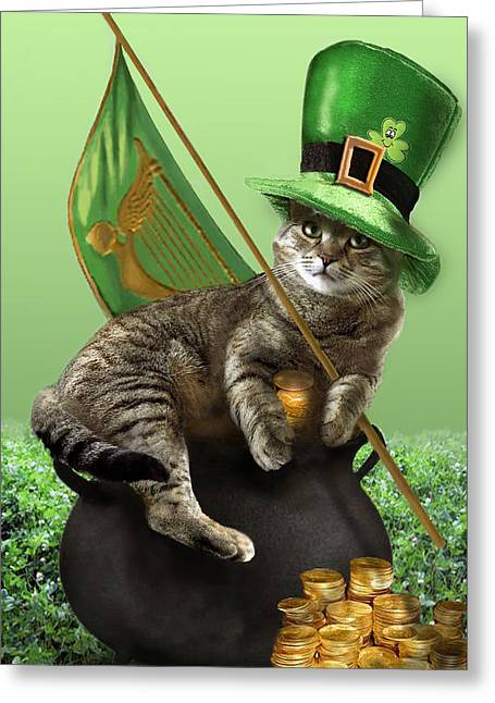 St. Patrick's Day Irish Cat Sitting On A Pot Of Gold Greeting Card