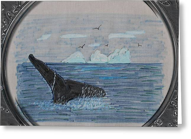 Humpback Whale Tail And Icebergs - Porthole Vignette Greeting Card by Barbara Griffin
