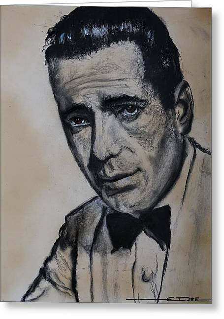 Greeting Card featuring the drawing Humphrey Deforest Bogart -1  by Eric Dee