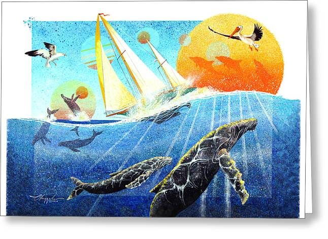 Greeting Card featuring the painting Humps In The Sea by David  Chapple