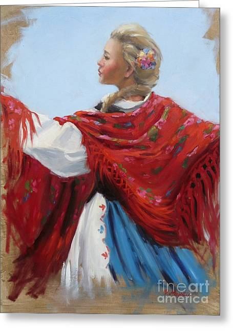Hungarian Folk Dancer Greeting Card