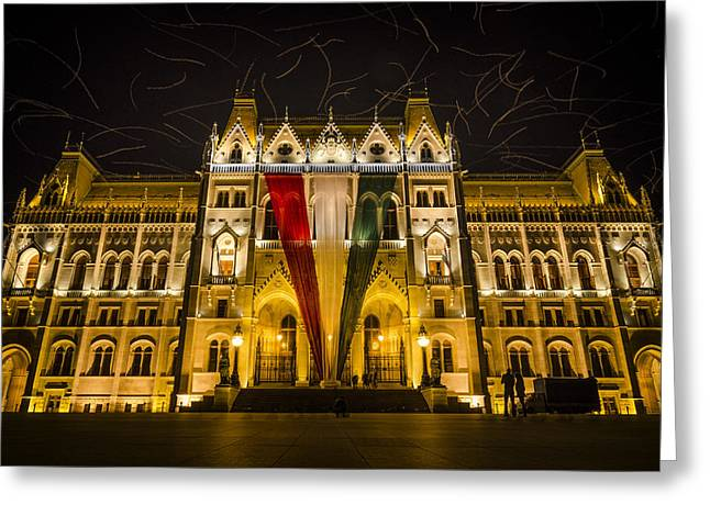 Hungarian Parliament At Night Greeting Card